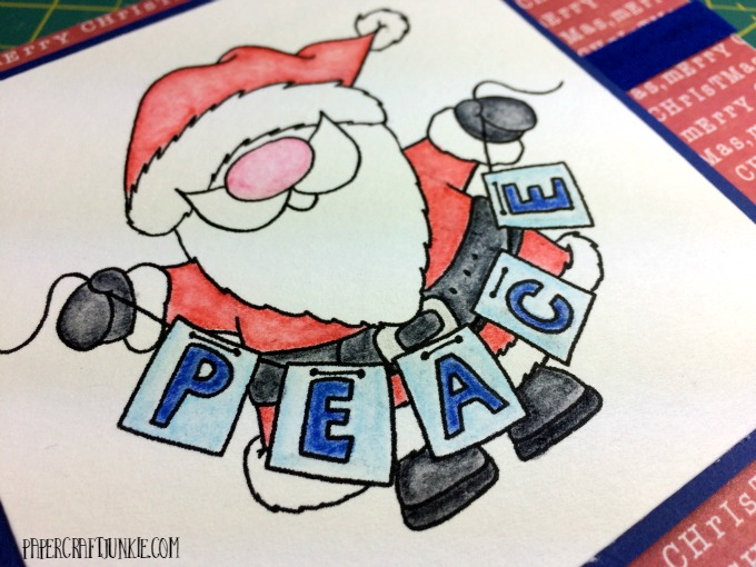 Peace Santa Card - This adorable digital stamp is the center for the Gerda Steiner December Challenge.